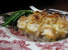 Hobo Casserole- Ingredients: 1 lb lean ground beef, 1 small onion, 2 medium sliced potatoes, 4 slice american cheese, 1 can cream of mushroom soup, 1/8 c milk, 1 1/2 c french fried onions. Directions: Preheat oven to 350°F. Pat ground beef into 8x8 pan, sprinkle with salt & pepper. Slice onion and potatoes onto beef. Layer with cheese. Mix soup and milk together, spread over cheese. Cover with foil, bake for 1-1 1/2 hr. Remove foil. Top with french fried onions, brown for about 5 min.