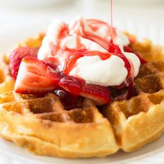 Quick and easy homemade strawberry syrup, perfect for serving over waffles, pancakes, or ice cream.
