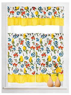 Awesome MarCielo 3 Piece Printed Floral Kitchen/Cafe Curtain With Swag And Tier  Window Curtain Set, Fruit Lemon