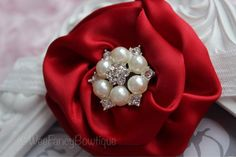 Red Christmas Satin Flower-Ivory Pearl by WeeFancyBowtique on Etsy