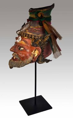 mask of Thai hermit 'Lersi Por Gae' -  made of clay - vintage and well-worshipped - from a shaman in the outskirts of Bangkok . Private collection of Stephane Peray ( Stephff ) French resident artist in Bangkok.