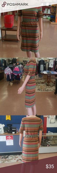 Ralph Lauren  stripe dress in fall colors Super cute, versitle, and comfortable, this dress can be worn alone or pared with a cardigan and or tights. Made from 100% cotton with sleeves designed to be worn as short, 3/4, or long for the changes fall weather often brings.  The dress comes off my showroom floor so no need to worry about smoke, pets, or even my children's dirty hands leaving a scent behind.  Also like with all of my items, I'd be happy to consider any reasonable offer. Lauren…