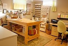 Butcher block scrap table, I have one similar with drawers in my pantry and I got it from IKEA....love IKEA...