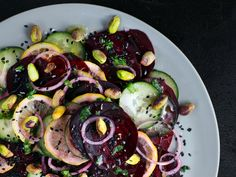 Beet Salad with Cucumber, Lemon and Pistachios from Vol. 13: Lemons, by Alison Roman.