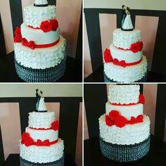 Wedding cake, petals, red fondant roses