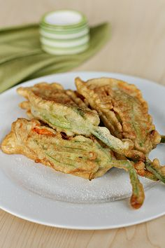Inspired by my trips to Tuscany these zucchini flowers are stuffed with fresh ricotta shallots and garden herbs before being pan-fried. Fried Zucchini Flowers, Pan Fried Zucchini, Zucchini Fries, Stuffed Zucchini, Fried Squash Blossoms, Zucchini Blossoms, Milk Recipes, Cooking Recipes, Cooking Ideas