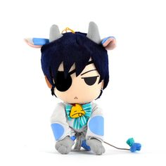 """Dressed in an adorable cow cosplay, this 7.5"""" plushie is based on Ciel from the wildly popular Black Butler franchise. Just how could you resist that stubbornly cute face?! Be sure to add him to your barnyard with the matching Sebastian plushie too!  #tokyootakumode #plushie"""