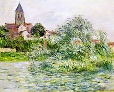 The Church and the Seine at Vétheuil by Claude Monet in oil on canvas, done in Now in a private collection. Find a fine art print of this Claude Monet painting. Pierre Auguste Renoir, Edouard Manet, Claude Monet, Edgar Degas, Monet Paintings, Landscape Paintings, Landscapes, Artist Monet, Paris