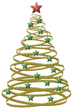 Transparent Gold Christmas Tree with Green Stars PNG Picture