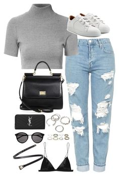 """""""Sem título #4828"""" by fashionnfacts ❤ liked on Polyvore featuring Topshop, Glamorous, Dolce&Gabbana, Carven, T By Alexander Wang, Yves Saint Laurent and Forever 21"""