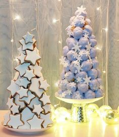 Star Cookies + Profiterole Towers from a Pastel Winter Wonderland Holiday Party via Kara's Party Ideas | KarasPartyIdeas.com (8)