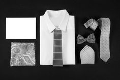 Traditional black tie styling from The Tie Bar: http://www.stylemepretty.com/2015/04/09/accessorizing-your-groom-groomsmen-with-the-tie-bar/