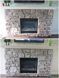 Gray-Washed Fireplace Stone Using Annie Sloan Chalk Paint More