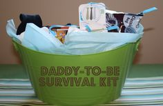 """Daddies need a """"baby shower gift"""" too! Super Cute New Daddy Survival Kit with labels. and link to new mommy survival kit Baby On The Way, Baby Kind, New Dad Survival Kit, Survival Skills, Baby Showers, Baby Shower Gifts, Baby Gifts, New Mommy Gifts, Baby Boys"""