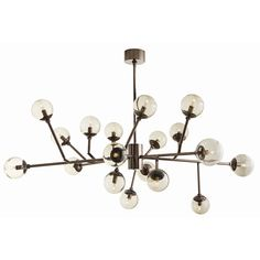 "Arteriors | Dallas Chandelier  Item No: 89981 H: 18.5-32"" W: 58"" D: 45"" Mid-century inspiration results in this 18 light, brown nickel take on Sputnik. 12 adjustable arms. Photographed with 2"" tubular bulbs. MSRP: $4200.00"