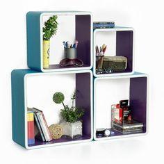 Trista - [My Blue Paradise] Rectangle Leather Wall Shelf / Bookshelf / Floating Shelf (Set of 4)