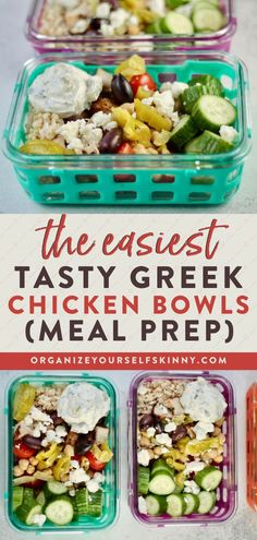 The Easiest Tasty Greek Chicken Bowls | Meal Prep for Beginners - Looking for a healthy lunch idea you can meal prep and pack for yourself this week? This Greek chicken bowl is super easy to make and beyond tasty! Each bowl is filled with marinated chicken breast, fresh vegetables, and bright Tzatziki sauce. Get the full recipe now! Organize Yourself Skinny | Keto Recipes for Weight Loss | Clean Eating Lunch Ideas #Lunchrecipe #healthyeating #mealprep #mealplanning #ketorecipe Quick Healthy Lunch, Healthy Freezer Meals, Healthy Meal Prep, Easy Meals, Keto Meal, Clean Eating Recipes, Lunch Recipes, Healthy Recipes, Keto Recipes