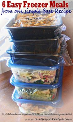 Taco rice casserole Chef Tess Bakeresse: 6 Quick and Easy Freezer Dinners from 1 Ground Beef Dinner Base Freezable Meals, Make Ahead Freezer Meals, Freezer Cooking, Meals For One, Bulk Cooking, Dump Dinners, Cooking Rice, Main Meals, Quick Meals