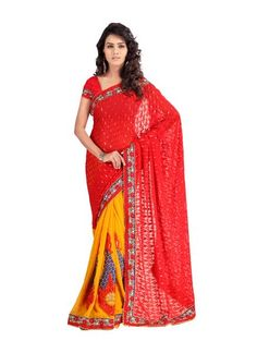 The very fashionable Saree blends comfort in tandem with style and has been created by artists of RekhaManiyar Fashions. Pretty to look at, this brasso is ingeniously crafted to combine old & new styles. The refreshing red & yellow colour combined with chic style will make you look no less than spectacular.
