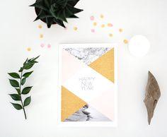 HAPPY NEW YEAR carte de voeux geometrique par OAKgallery sur Etsy, €2.50