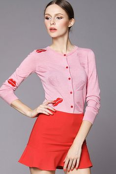 Pink Cotton Long Sleeve Top With A Line Short Skirt