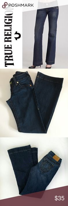 """True Religion Candice Trouser Jeans ✔️Wide Leg/Trouser Style ✔️88% Cotton•10% Polyester•2% Spandex ✔️Inseam: 34.5"""" ✔️Excellent Used Condition True Religion Jeans"""