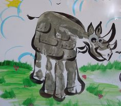 Handprint Rhino craft for kids