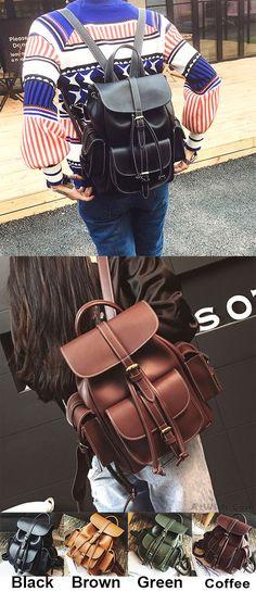 Fashion Black Three Pockets PU Smooth Large Women College Backpacks for big  sale!  fashion b38cc2fd3d242