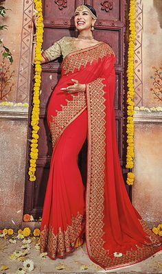Beautiful Red Color Embroidered Designer Wedding Saree