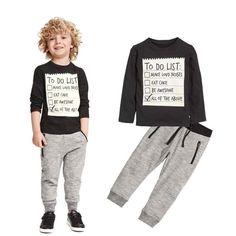 1Set Kids Toddler Boys Handsome Black Blouse Gray Casual Pants Letter Sports leisure t-shirt pants kids suits