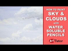 How to Paint Sky & Clouds in Water Soluble Pencils | Art Tutor