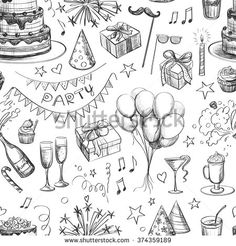 Seamless pattern . Party hand drawing for your design