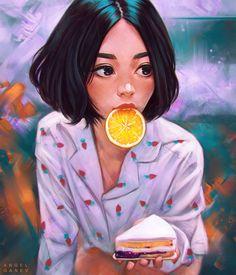 𝙸𝚕𝚕𝚞𝚜𝚝𝚛𝚊𝚝𝚒𝚘𝚗 𝚋𝚢: Angel Ganev 😍 𝚂𝚑𝚊𝚛𝚎 𝚝𝚘 𝚝𝚑𝚎 𝚠𝚘𝚛𝚕𝚍: Digital Art Girl, Digital Portrait, Portrait Art, Pretty Art, Cute Art, Arte Peculiar, Dibujos Tumblr A Color, Girly Drawings, Cartoon Art Styles
