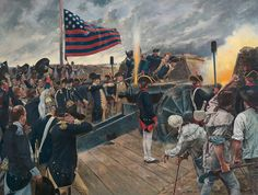 """October 1781 - """"Artillery of Independence"""" (General George Washington firing the first American gun at the siege of Yorktown , Virginia) American Revolutionary War, American Civil War, American History, American Soldiers, Military Art, Military History, Military Uniforms, Conquistador, Siege Of Yorktown"""
