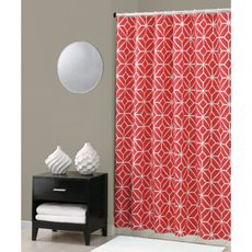 Trina Turk Trellis Shower Curtain - Coral...would look good with navy towels!