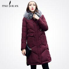 Pinky Is Black 2017 New Winter Jacket Women Cotton-padded Parkas Jackets Large Fur Collar Female Long Winter Coat Women Outwear #Affiliate