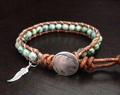 Turchese Bracciale Wrap con charm in argento sterling piuma nativo americano ispirato gioielli avvolgere singolo, fidanzata fidanzato regalo