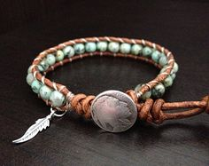 Southwestern Turquoise and Coral Beaded Leather by DESIGNbyANCE