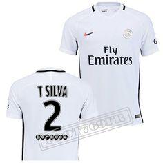 7fb448103f5b Meilleure Qualité  Nouveau Flocage Maillot De(PSG)Paris Saint Germain Third  Blanc T Silva 2 2016 2017 -Foot769Fr