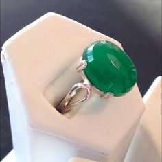 Cristo Gems & Jewelry Mint Jelly Quartz Ring 16x12mm 11.4 ct sterling silver Jewelry Rings