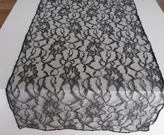 Black Lace table runner 14 x 72 by LaruesLine on Etsy Wedding Table Centres, Wedding Reception, Black Lace Table, Dream Wedding, Wedding Day, Lace Table Runners, Table Centers, Wedding Decorations, Black And White