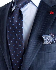 Image of Isaia Blue Check with Aqua Windowpane Suit: