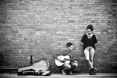 Black and white against brick