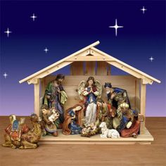 """19.5"""" Ornate Nativity with 30"""" Wood Stable $589.00 Ornate Nativity Set with 10 pieces from Joseph's Studio. This set includes a 30"""" high wood stable.  Stable is made in New York of North American white pine.  Tallest Nativity figure is King Gaspar at 19.5 inches high. http://www.christmasnightinc.com/c49/c50/195-Ornate-Nativity-with-30-Wood-Stable-p1256.html#"""