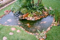 42 Awesome Fish Ponds Design Ideas For Your Backyard Landscape. There are many sorts of ponds it's possible to build in your backyard. A little pond limits the amount of fish and plants you̵. Pond Landscaping, Landscaping With Rocks, Florida Landscaping, Pond Design, Garden Design, Back Gardens, Outdoor Gardens, Fish Ponds Backyard, Garden Ponds