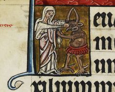 The Virgin Mary punches the devil in the face, c. 1240.