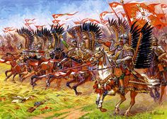 Polish Winged Hussars charging, 17th Century