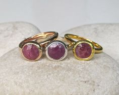 Ruby Ring Gemstone Ring Stone Ring Stack Ring Round by Belesas