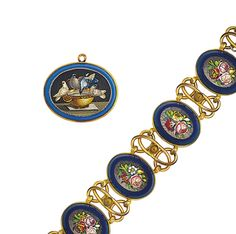 A 19th century micro mosaic pendant and bracelet