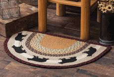 Black Bear Half-Round Braided Rug